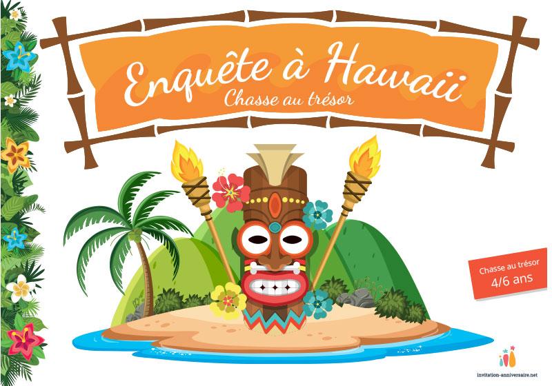 Enquete A Hawaii 4 A 6 Ans Invitation Anniversaire